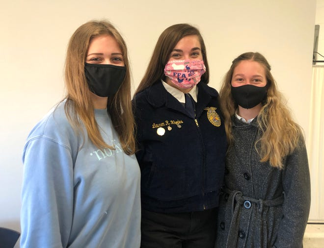 Fort Defiance High School students (from left) Sherylynne Crookshanks, Lauren Rhodes, and Caroline Miller will take part in the U.S. Department of Energy Solar Decathlon Wednesday, Dec. 16. They will be presenting their research findings from last year's Throwing Solar Shade project.