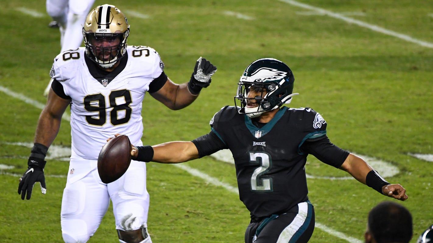 Philadelphia Eagles sticking with rookie Jalen Hurts at quarterback even as Doug Pederson tempers praise