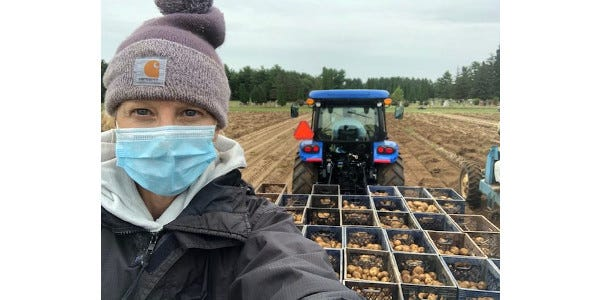 Becky Eddy, superintendent of Rhinelander Agricultural Research Station, takes a selfie while helping with the National Chip Processing Trial harvest at Rhinelander ARS in fall 2020.