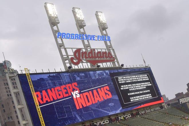 The scoreboard at Progressive Field displays the Cleveland Indians logo. [David Richard, USA TODAY Sports]