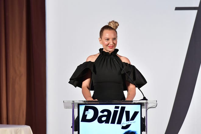 In this file photo, Sia speaks onstage duing The Daily Front Row Fashion LA Awards 2019 on March 17, 2019 in Los Angeles, California.