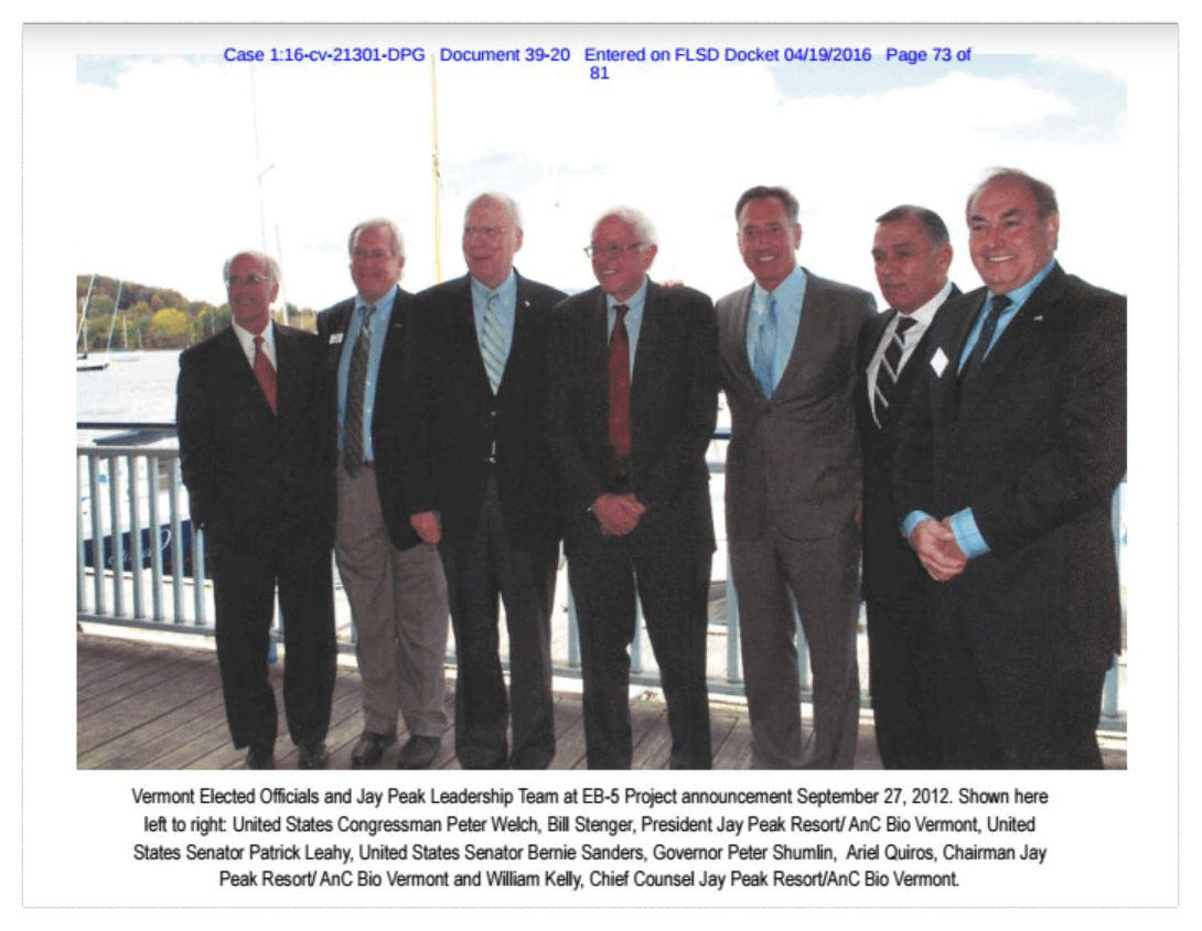 Ariel Quiros, second from right, Bill Kelly, right, and Bill Stenger, second from left, pose with Vermont's governor and congressional delegation, including Sen. Patrick Leahy and Sen. Bernie Sanders, at a news conference Sept. 27, 2012. This photo was released in documents from the state of Vermont.