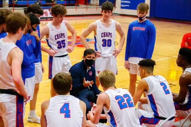 Westlake head coach Robert Lucero talks to his team during a win over Killeen Shoemaker earlier this season. The Chaps enter District 26-6A competition this week with a 9-1 record.