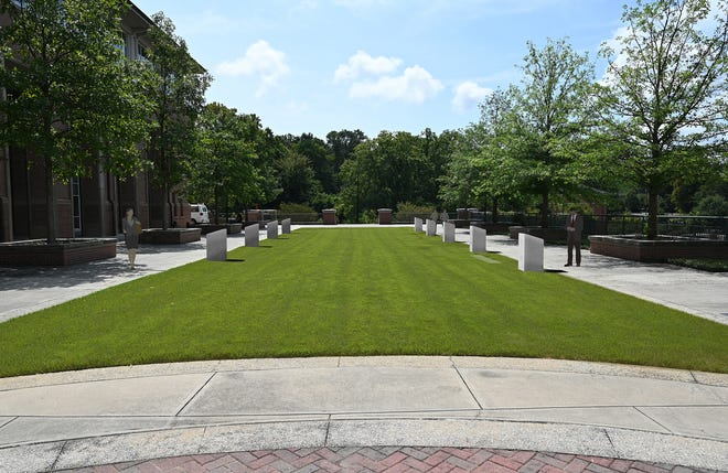 A rendering of the campus markers on the Tate Student Center West Lawn. (Contributed)