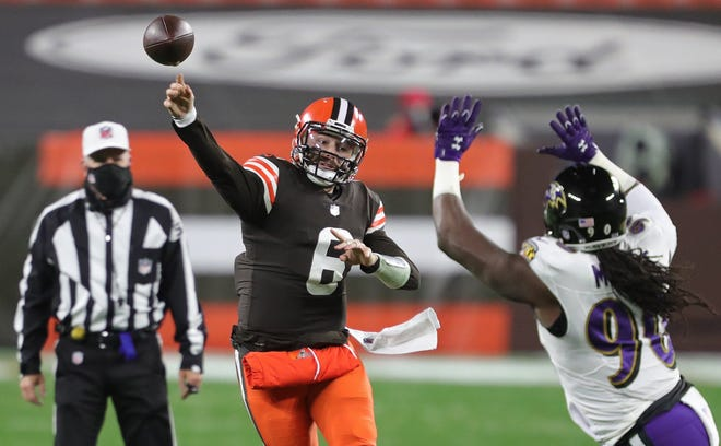 Browns quarterback Baker Mayfield (6) was named the team captain for Sunday night's game against the New York Giants. [Jeff Lange/Beacon Journal]