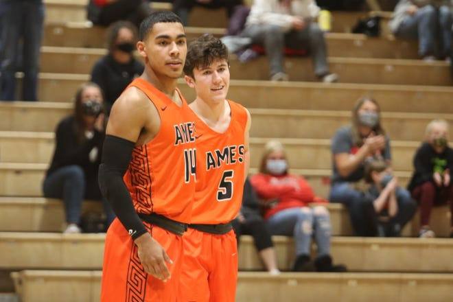 Tamin Lipsey (14) and Casey Mumm were playing in their first game since the 2019-2020 season when the Ames boys' basketball team opened the season Monday at Ottumwa. Lipsey scored 23 points to lead the No. 6 Little Cyclones to a 64-47 victory.