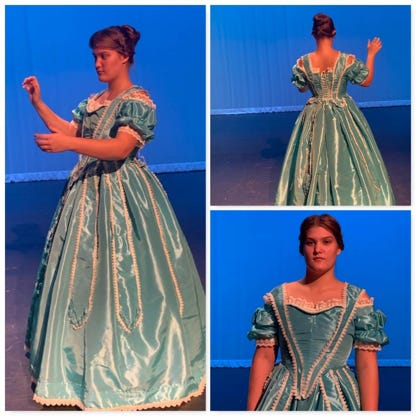 "Lilly Lee (Costume Construction) – National Qualifier. Lilly Lee's costume, ""Meg's Party Dress, Little Women by Louisa May Alcott."""