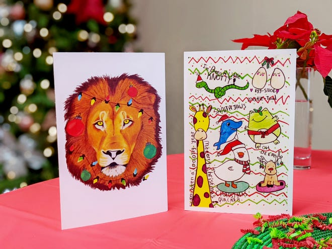 Two students submitted winning designs for holiday cards.