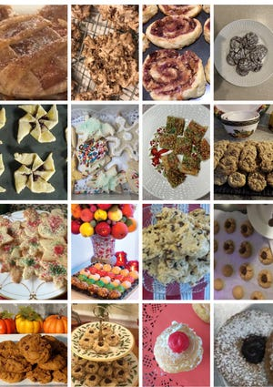 This composite shows 16 cookies and recipes available at the Osterville Village Library website, from folks who took part in the library's first virtual cookie and recipe swap last week.  (Compiled by Lisa Fackler]