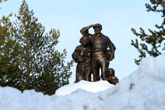 The Pioneer Memorial, dedicated to the Donner Party, is seen at the Donner Memorial State Park at Truckee, Calif., in 2011.