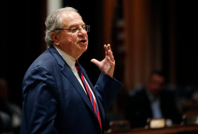 Massachusetts House Speaker Robert DeLeo speaks at the Massachusetts Statehouse on Jan. 2, 2019, in Boston, prior to the swearing-in of the 160-member House of Representatives to new two-year terms on Beacon Hill. On Tuesday, he said the House would reject Gov. Charlie Baker's proposed changes to the abortion access language in the fiscal 2021 budget.