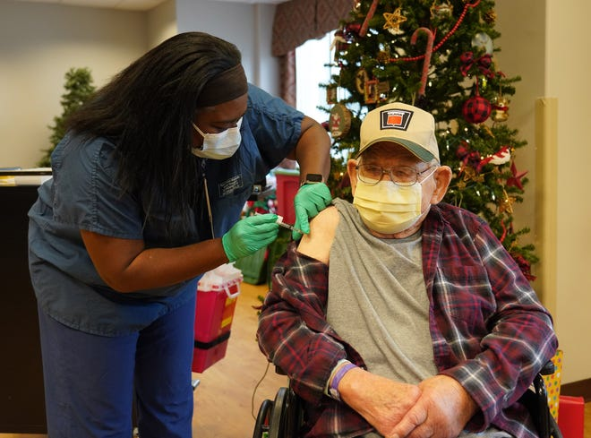 """Alvin """"Bob"""" River, a 99-year-old Army veteran of World War II, was the first patient at Truman VA to receive the COVID-19 vaccine on Thursday. A resident of Montgomery City, he will turn 100 years old on Christmas Day."""
