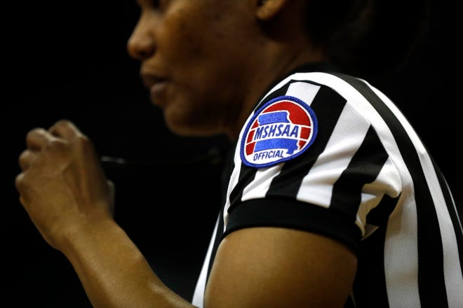 A MSHSAA patch is seen on the arm of a referee during the Class 2 girls basketball championship game between Adrian and Skyline on March 11, 2017, at Mizzou Arena.