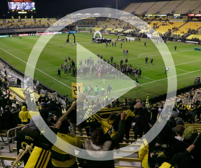 In this file photo, fans of Columbus Crew SC celebrates in the Nordecke after a 3-0 win over the Seattle Sounders FC in the MLS Cup championship soccer match at Mapfre Stadium in Columbus, Oh. on Saturday, December 12, 2020.