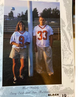 Sissy Sink (now Rausch) is pictured with Dan Matthews in a North Davidson yearbook photo. They were chosen as Most Athletic in their senior class.