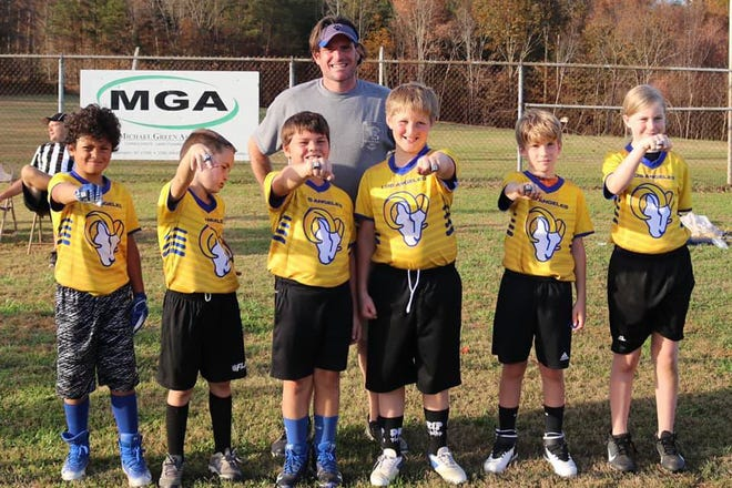 The South Davidson Rams were the 2020 Davidson County U10 flag football Super Bowl runners-up. Team members are (from left) coach Chan Howell, Caden Wagoner, Rus Howell, Nate Lilly, CJ Asbury, Caper Matney and Chloe Boice.
