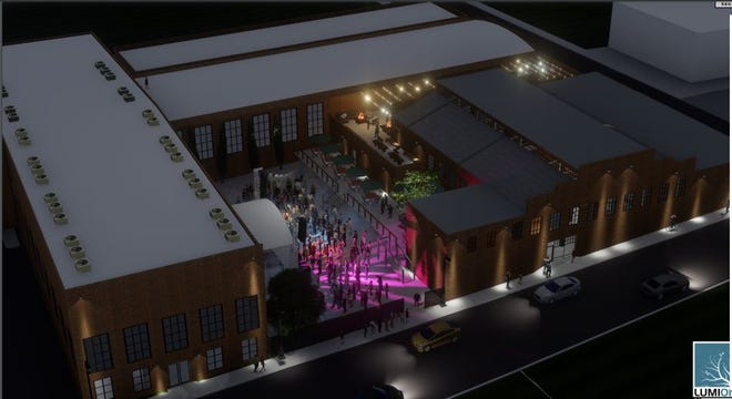 An artist rendering of the proposed Railroad Street Market is one of several new development projects in the Depot District in Lexington.