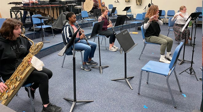 The woodwind ensemble recorded its portion of the Greencastle-Antrim High School virtual winter concert Monday morning.