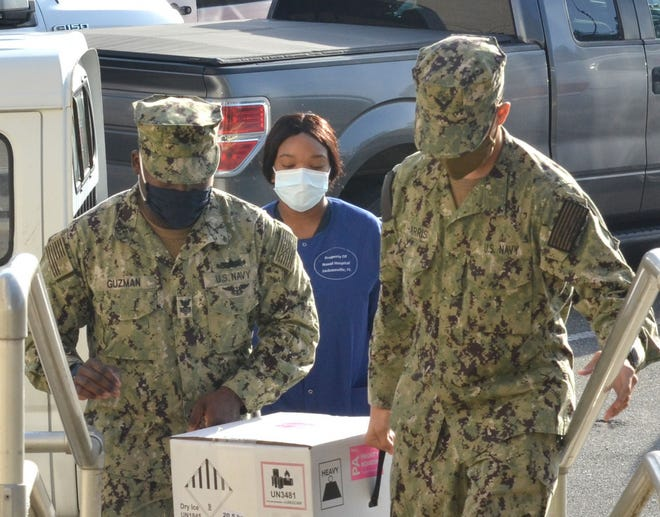 An initial shipment of the COVID-19 vaccine arrives at Naval Hospital Jacksonville Tuesday.