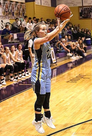 Evans' sharpshooter Riley Haus scored 24 points in the Lady Eagles' win on Monday over Negreet