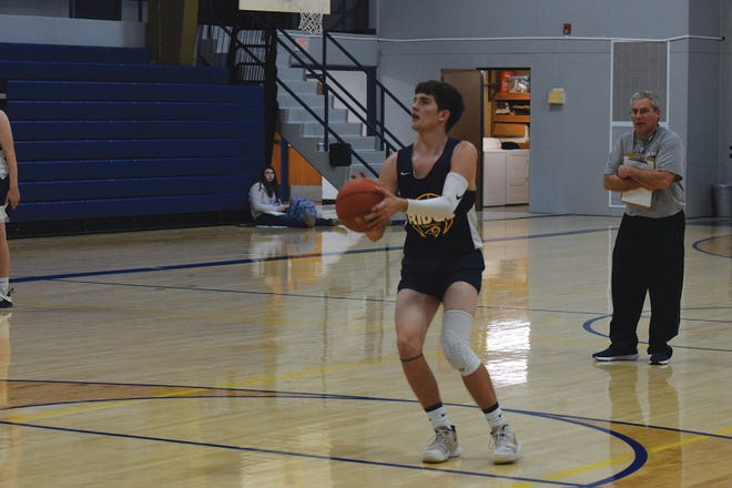 Shown is Pleasant Ridge senior point guard Connor Gibson. Gibson was the Rams' leading scorer last season and was named to the All-Northeast Kansas League second team.