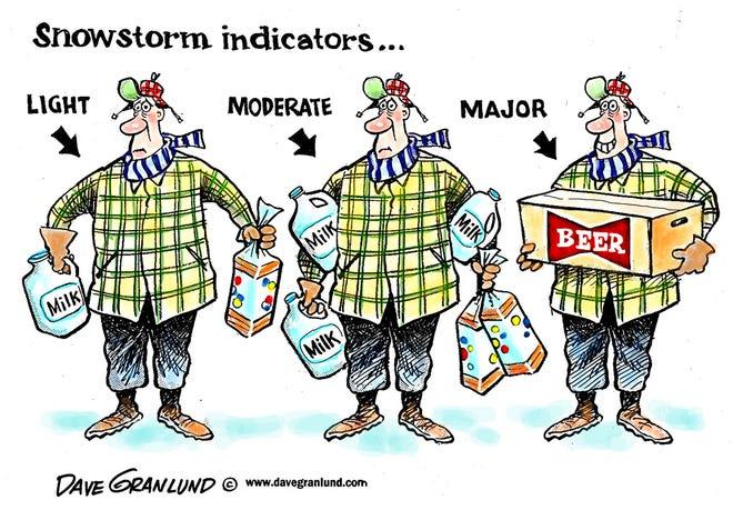 Dave Granlund cartoon on snowstorm indicators