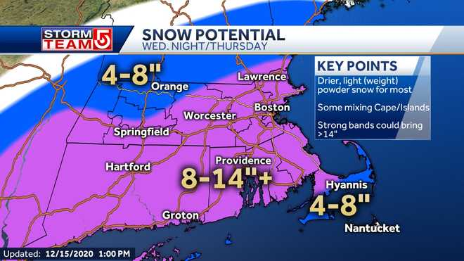 A midweek storm could dump up to 14 inches of snow in the region.