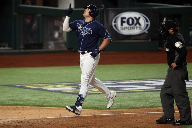 Rays right fielder Hunter Renfroe (11) runs the bases after hitting a home run against the Dodgers during the fifth inning of game four of the 2020 World Series at Globe Life Field. Renfroe recently signed a one-year deal with the Red Sox. Mandatory Credit: Tim Heitman-USA TODAY Sports, File Photo
