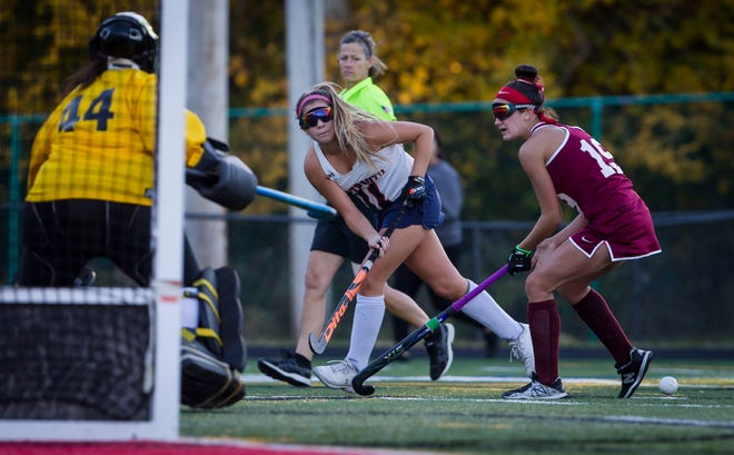 Lenape Valley's Julianna Gentilucci, center, looks to make an assist as and Pompton Lakes' Jillian Ricke, right, and goalkeeper Madisyn DeFrancesco defend a state playoff game on Oct. 21, 2019, at Lenape Valley Regional High School in Stanhope.