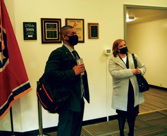 Oak Ridge High Principal Garfield Adams and Assistant Principal Amber Roberts prepare to leave an Oak Ridge Board of Education meeting after speaking on block scheduling.