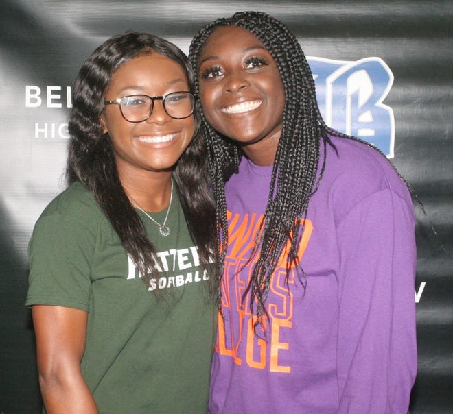 Belleview's Jaela Haynes, left, and Kylah Gardner, signed scholarships to play college softball on Monday night. Haynes is going to Stetson University while Gardner will attend Edward Waters College.