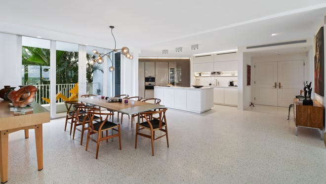 Karen Kitzis' renovated condominium in the 2500 Building to suit her taste for mid-century modern furnishings. The three-bedroom condo is listed at $2.998 million.