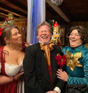 "George Hosker-Bouley, center, stars with Sarah Shanahan, left, and Katy Hunt, right, in ""The Two Wives of Charles Dickens,"" which is available for online viewing at Carpe Diem Inc.'s Facebook page."