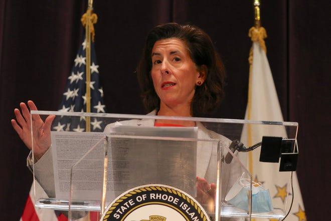 Gov. Gina Raimondo, during her weekly COVID-19 news briefing The Providence Journal / David DelPoio]