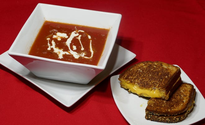 The classic, tomato soup and a cheese sandwich.