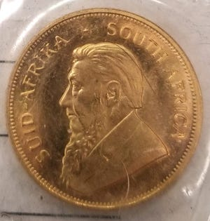 A 1-ounce gold South African Gold Krugerrand coin was donated to the Salina Salvation Army in the red kettle at the Dillons grocery store on Planet Avenue on Monday.
