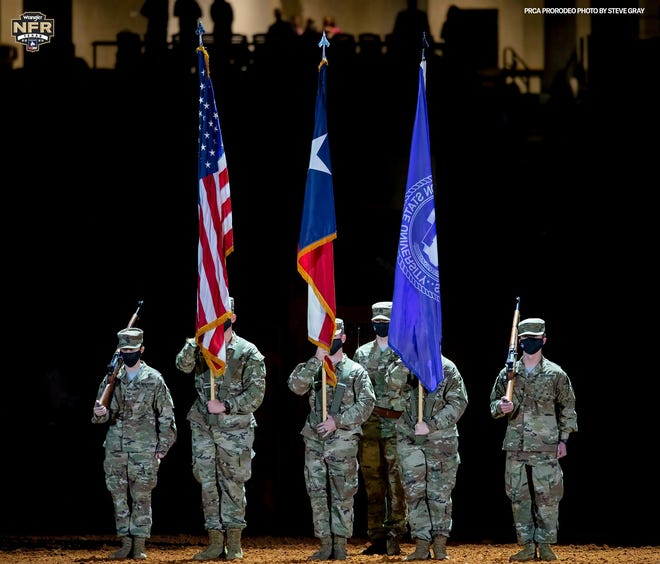 The Tarleton State University Texan Corps of Cadets presented the colors for the ninth performance of the PRCA Wrangler National Finals Rodeo held Dec. 3-12 in Arlington.