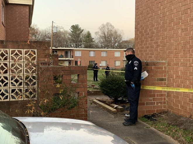 Shelby Police officers investigate a shooting at Park Sumter Apartments that put one man in the hospital on Tuesday night.