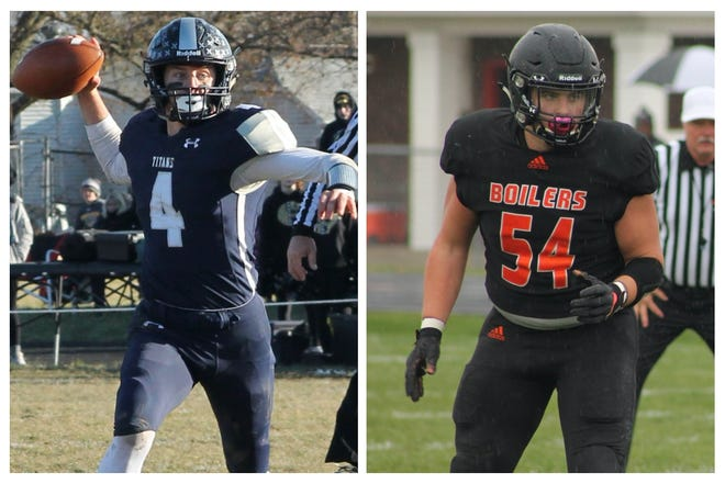 Annawan-Wethersfield quarterback Coltin Quagliano (4) and Kewanee High School linebacker Taber Conover (54) were selected for the Illinois Shrine Game, which will be  June 19, 2021 at Illinois Wesleyan's Tucci Stadium in Bloomington.