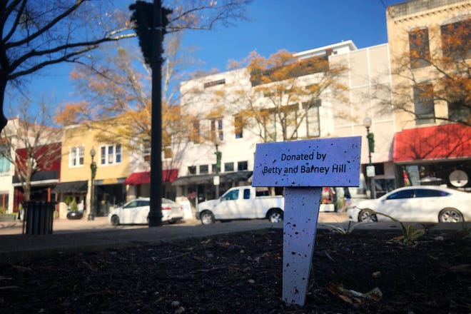 A sign sits where the mini-monolith head been in a raised flower bed on Hay Street on Tuesday, Dec. 15, 2020.
