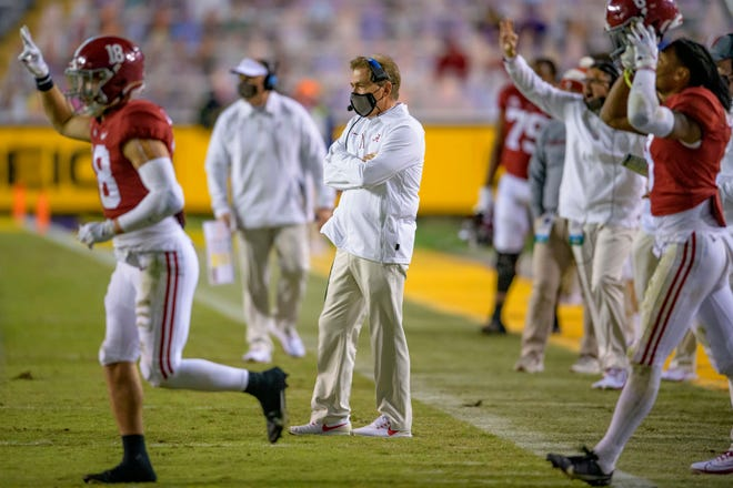 Alabama coach Nick Saban watches from the sideline during the second half of the Dec. 5 game against LSU in Baton Rouge, La.