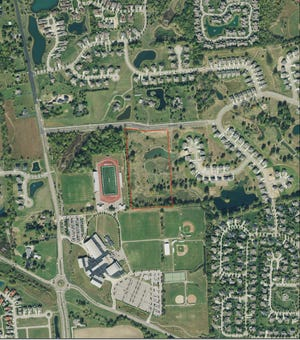 Dublin City Schools will purchase 13 acres, shown in the red box, east of the Dublin Jerome High School campus, 8300 Hyland-Croy Road, as a site for a future elementary school.