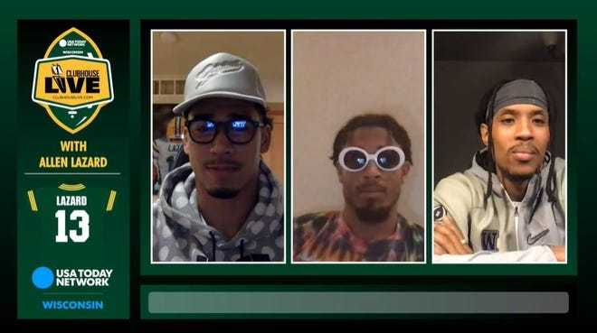 Packers wide receiver Allen Lazard (left) co-hosted Monday's Clubhouse Live. Lazard's guests were cornerbacks Jaire Alexander (center) and Kevin King (right).