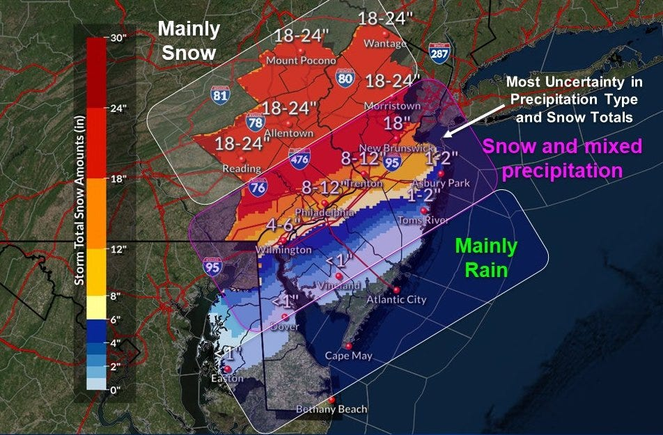 Nj Weather Forecast Calling For 24 Inches Of Snow In Parts Of State