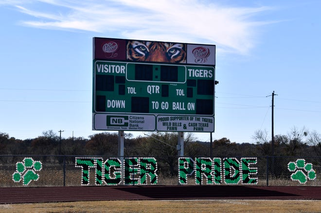 The scoreboard at the May High School football stadium Monday Dec. 14, 2020.