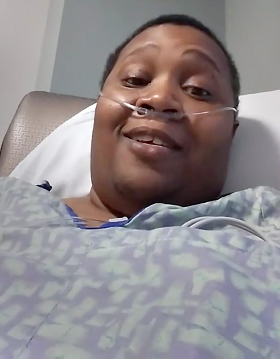 Monique Baldridge, 52, of Detroit, records herself in a Facebook Live dispatch to family and friends on March 20, 2020 from her bed at Ascension St. John Hospital in Detroit. She died with COVID-19 on March 27, 2020.