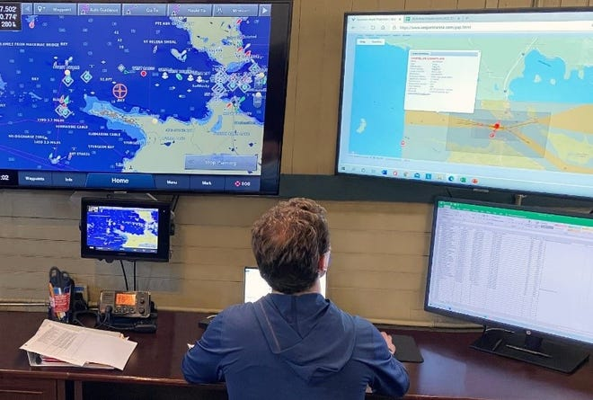 The Enbridge Straits Maritime Operations Center is staffed by a team that monitors and coordinates multiple Enbridge safety measures while work progresses on the Great Lakes Tunnel.