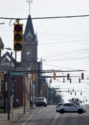 Motorists encountered countless traffic lights out on roads like Mulberry Street on Tuesday during a power outage the affected nearly 5000 Mansfielders.