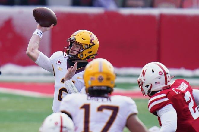 Quarterback Tanner Morgan and the Minnesota offense rolled up 393 yards of offense against Nebraska despite a depleted line.