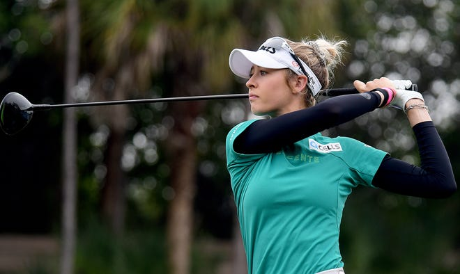 Nelly Korda tees off on the 4th hole during the CME Group Tour Championship Pro-Am at the Tiburón Golf Club in Naples ,Tuesday,Dec.15,2020.(Photo/Chris Tilley/Special to the Naples Daily News)